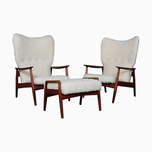 Lounge Chairs and Ottoman in Sheepskin by Arne Vodder, 1960s, Set of 3