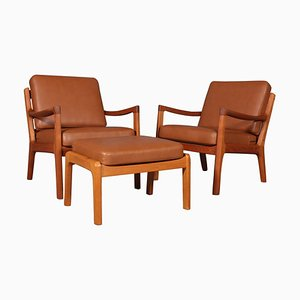 Lounge Chairs & Ottoman by Ole Wanscher for Cado, Set of 3