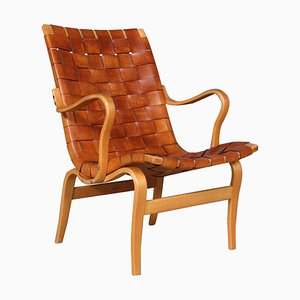Eva Leather Lounge Chair by Bruno Mathsson, 1960s