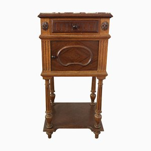 19th Century French Nightstand in Walnut with Marble Top