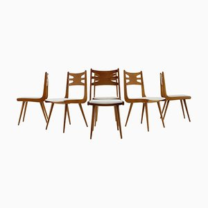 Oak Dining Chairs, Czechoslovakia, 1960s, Set of 6