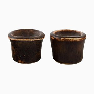 Glazed Ceramic Candleholders by Edith Sonne for Saxbo, Set of 2