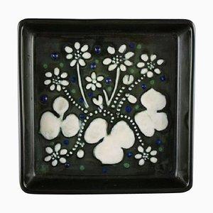 Square Dish in Glazed Ceramic by Sylvia Leuchovius for Rörstrand, 1960s
