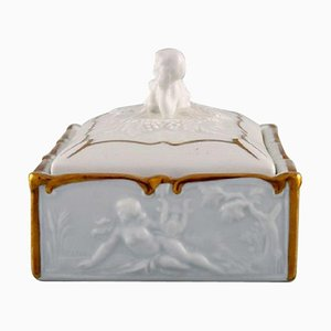 Gilded Porcelain Lidded Box Decorated with Romantic Scenes, Capodimonte, Italy