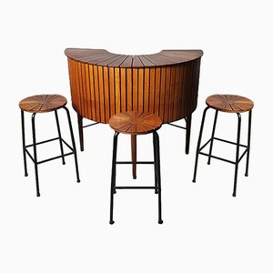 Cocktail Bar & Chairs, 1950s, Set of 4