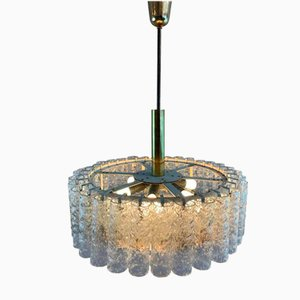 Tubular Glass and Brass Chandelier from Doria Leuchten, 1960s