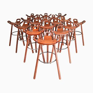 Marbella Barstools by Sergio Rodrigues for Confonorm, Spain, 1970s, Set of 18