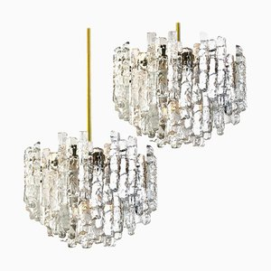 Large Modern 3-Tier Brass and Ice Glass Chandeliers by J.T. Kalmar, 1960s, Set of 2