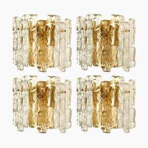 Ice Glass Wall Sconce with Brass Tone by J.T. Kalmar, Austria, 1960s