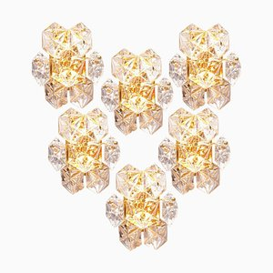 Faceted Crystal and Gilt Sconces by Kinkeldey, Germany, 1960s, Set of 6