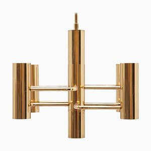Small Brass Chandelier by Gaetano Sciolari, 1970s