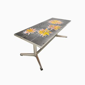 Vintage Tile Sunflower Coffee Table, 1960s