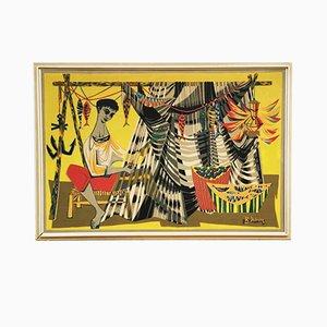 Tapiz Mid-Century Les Remailleur de Fillets Artwork de Robert Debieve, años 50