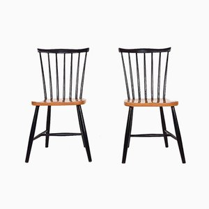 Vintage Spindle Back Dining Chairs, the Netherlands, 1950s, Set of 2