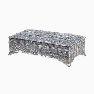 Silver Plate Chinese Bamboo Decorated Tobacco Box
