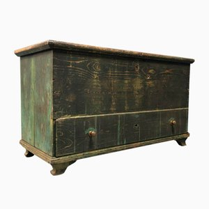 Large Weathered Green Chest with Drawer
