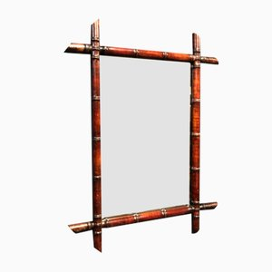 Large Faux Bamboo Mirror with Dark Frame, 1900s