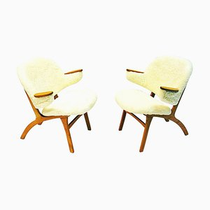 Mid-Century Easy Chairs in White Sheepskin by Sollide Møbler, Norway, 1950s, Set of 2
