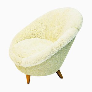 Mid-Century Florida Easy Chair in Sheepskin from Vatne Møbler, Norway, 1950s