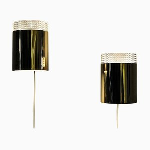 Relief Glass and Brass Wall Lights from Falkenbergs Belysning, Sweden, 1960s, Set of 2