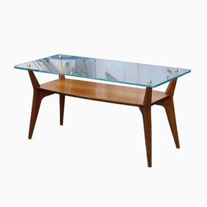 Rectangular Cherrywood and Crystal Coffee Table from Castelli / Anonima Castelli, 1950s