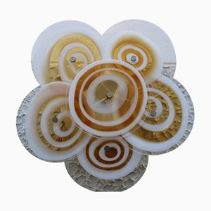 White and Yellow Murano Glass Floral Sconce by Gian Maria Potenza for La Murrina, 1960s