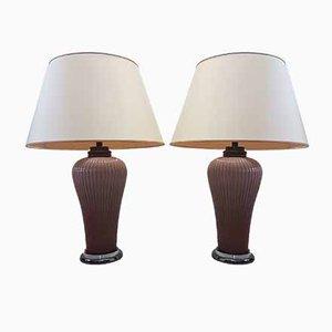Large Vintage Rose Porcelain, Chrome, and Titanium Table Lamps by Giulia Mangani, Set of 2