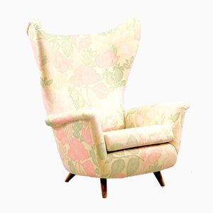 Mid-Century German Floral Wing Chair
