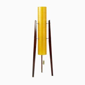 Czechoslovakian Fiberglass and Wood Rocket Floor Lamp from Novoplast, 1950s