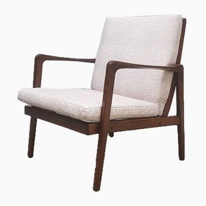 Danish Easy Chair with Cream Upholstery, 1960s