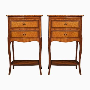 French Inlaid Walnut, Mahogany, and Maple Side Tables, 1960s, Set of 2