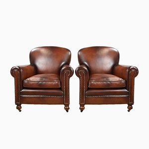 Vintage Hand Dyed Honey Brown Leather Armchairs, Set of 2