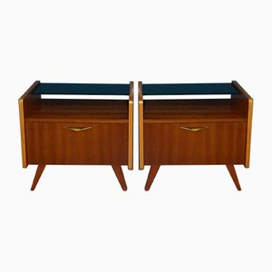Mid-Century Black Glass Top Nightstands, 1960s, Set of 2