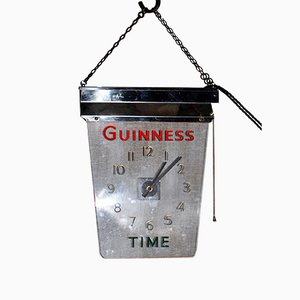 Vintage Guinness Time Advertising Illuminated Clock from Guinness, 1950s