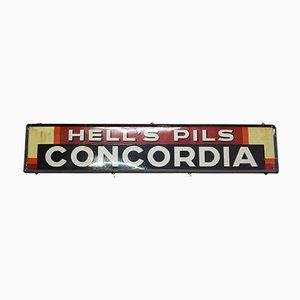 Large Vintage Belgian Hells Pils Concordia Enamel Sign, 1950s