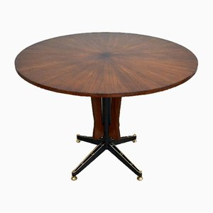 Italian Round Teak Dining Table by Carlo Ratti for Industria Legni Curvati Lissone, 1950s
