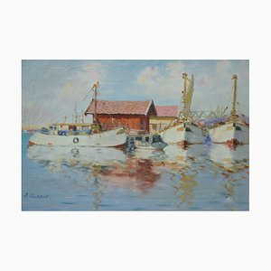 Mid-Century Scandinavian Oil Painting from A.Nilsson, 1950s