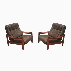 Vintage Leather and Teak High Back Lounge Chairs, 1960s, Set of 2
