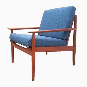 Mid-Century Danish Teak and Blue Tweed Easy Chair by Arne Vodder for Glostrup, 1950s