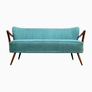 Mid-Century Turquoise Corduroy Cocktail Sofa, 1960s