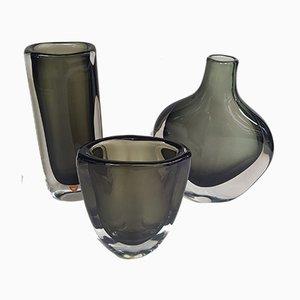 Vasi di Nils Landberg per Orrefors, anni '50, set di 3