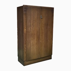 Art Deco English Oak Wardrobe, 1930s