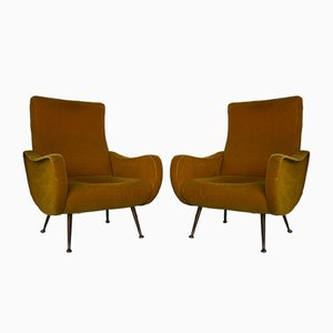 Mid-Century Italian Armchairs in the Style of Marco Zanuso, 1950s, Set of 2