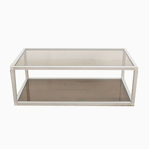 French Aluminum and Smoked Glass Coffee Table, 1980s
