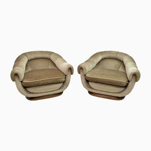 Mid-Century Italian Velvet Lounge Chairs by Lenzi, 1960s, Set of 2