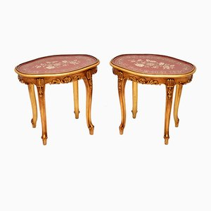 French Style Gilt Wood Side Tables, 1960s, Set of 2