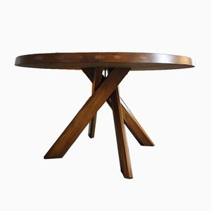 Round Model T21D Sfax Dining Table by Pierre Chapo, 1960s