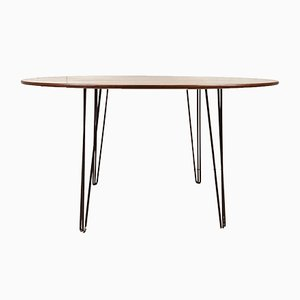 Mid-Century Round Teak Dining Table with Hairpin Legs, 1960s