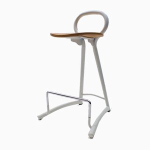 Metal and Wood Bar Stools with Footrests, 1980s, Set of 5