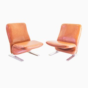 Buffalo Leather Concorde Chairs by Pierre Paulin for Artifort, 1960s, Set of 2